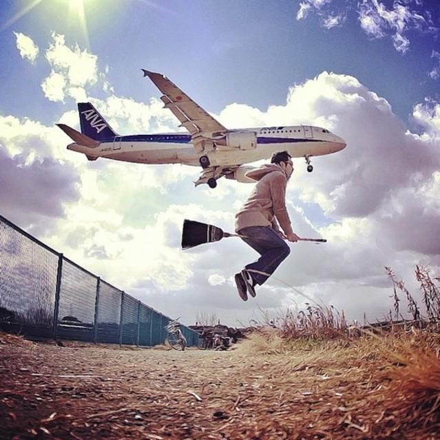 漂浮创意摄影 哈利波特的扫帚飞行记