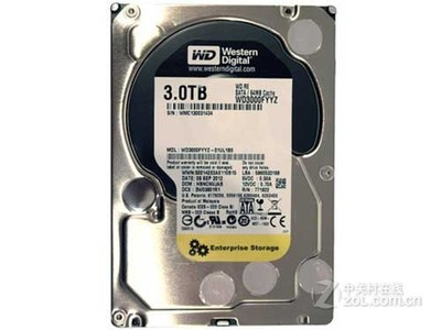 西部数据 RE4 3TB 7200转 64MB SATA3 企业级(WD3000FYYZ)