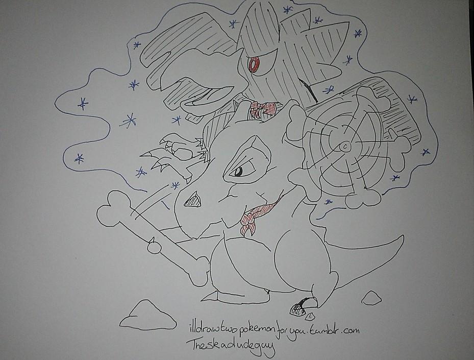 无论是沙滩排球,看心理医生还是飙车或者对打亦或者是让水中的宠物小精灵冲出水面逛一圈,这个名为Ill draw two Pokemon for you的博客主都会为你画出来。   不过这是有规则的,该位博主会每天绘制1至2副画作,而玩家则需要提供当事的两位宠物小精灵的名字,地点,发生了什么事等重要信息。如第一一幅画作中,玩家描绘的是奸诈蜥和呆呆兽玩排球,但是由于呆呆兽老是接不住而且行动缓慢导致半天才能拿回滚落的排球,奸诈蜥显得很失落。   当然这其中也不乏搞怪一些的,就像那张僵尸水箭龟被鬼斯通咬脸的创意