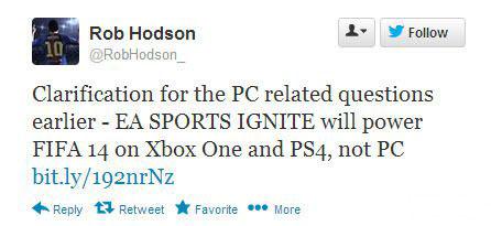 《FIFA 14》只支持主机Xbox One和PS4