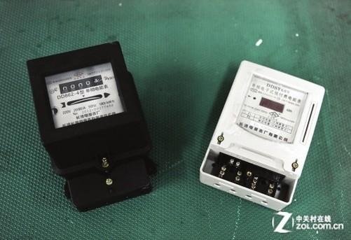 老式电表(左)与