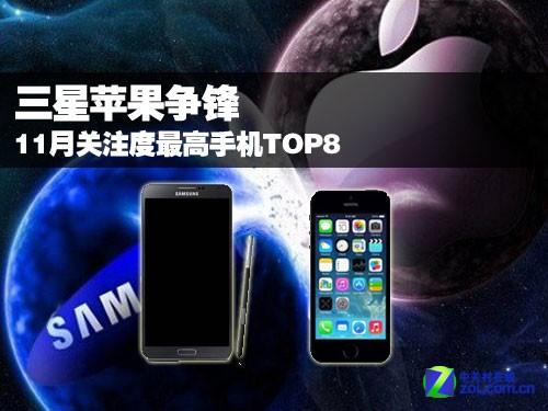 三星苹果争锋 11月关注度最高手机TOP8