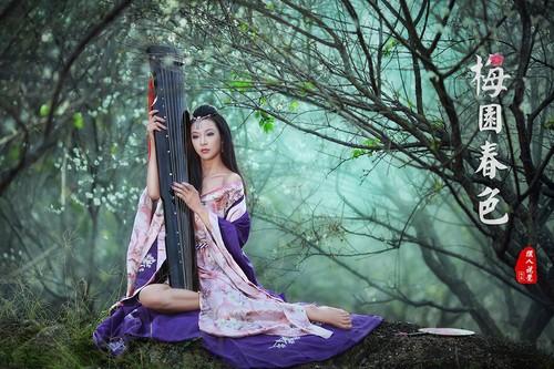 古琴纸伞玩穿越 古典美女的秀出微性感