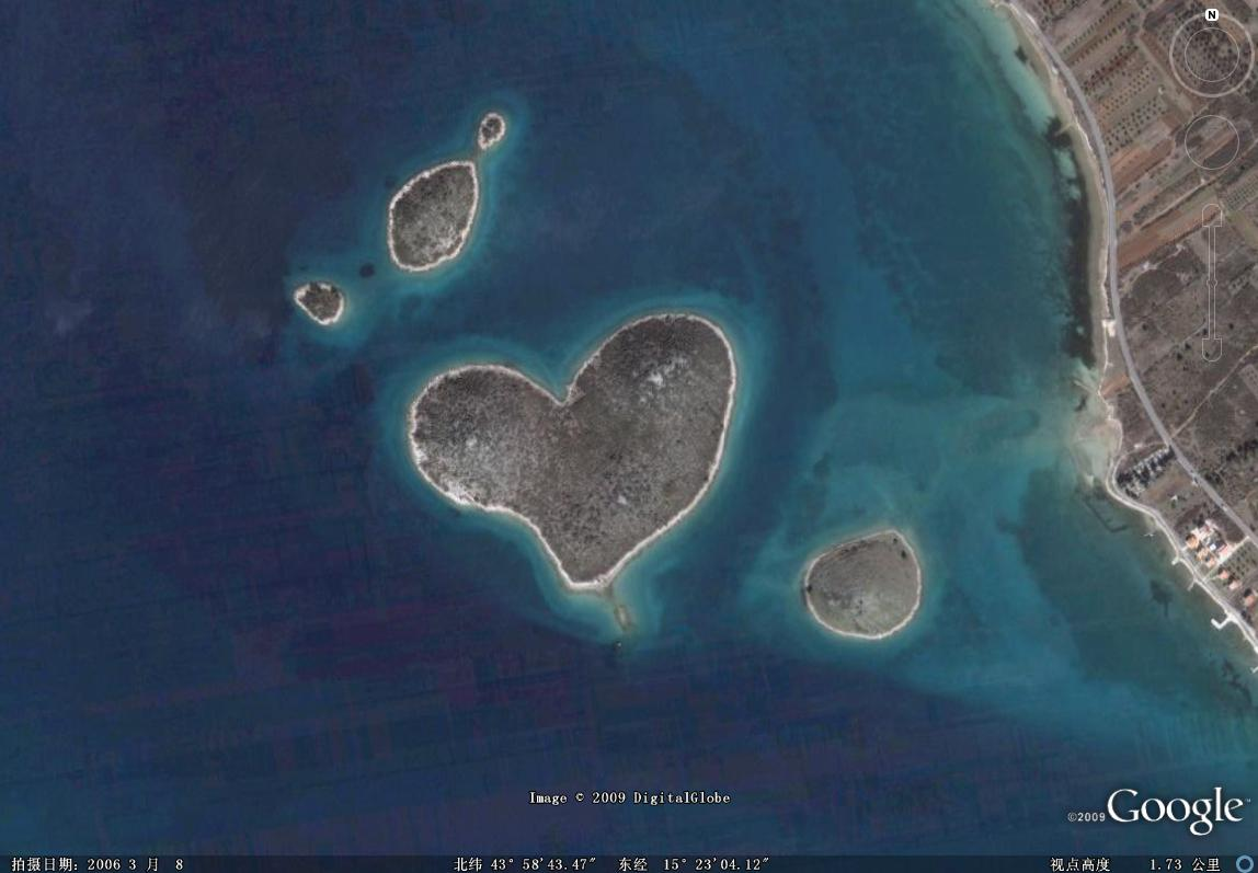 克罗地亚心形小岛图片欣赏
