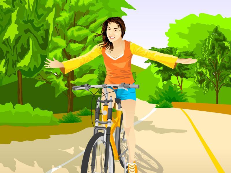 女生跑步卡通简笔画