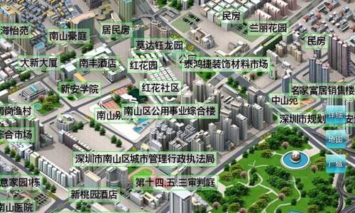e都市三维导航地图将现实城市中的各项信息资源及社会信息资源整合应