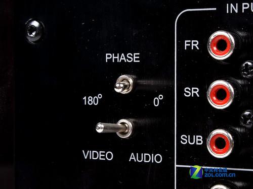 惠威h6 sub低音炮:相位开关和音视频切换开关