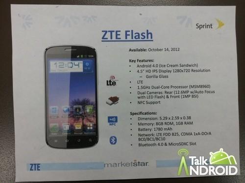 4.5吋720p屏+12.6MP 双核ZTE Flash泄露