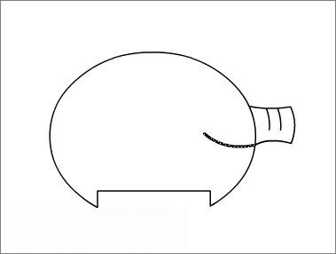 7,再用直线工具画出嘴巴的线条,并调成向下弯曲以形成微笑的表情