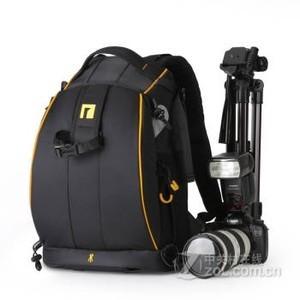 安诺格尔 相机包双肩摄影包 酷黑黄边五代小号